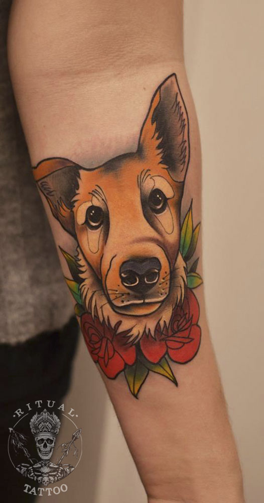 ritualtattooathens athenstattoo neotraditionaltattoo colortattoo athens dogtattoo - Neo Traditional Tattoo Dog
