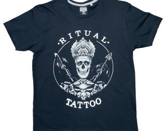Ritual Tattoo big Logo on the front in Black T-shirt