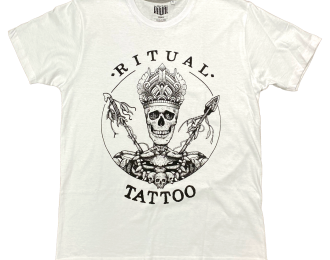 Ritual Tattoo big Logo on the front in White T-shirt